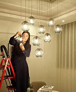 Mlshlf lamp 9 Lights Nordic Modern Creative Ceiling Light Minimalist Chandelier for Living Room Multi Bubble Balls Restaurant Pendant Light Duplex Staircase Chandelier Art Personality Long Chandelier