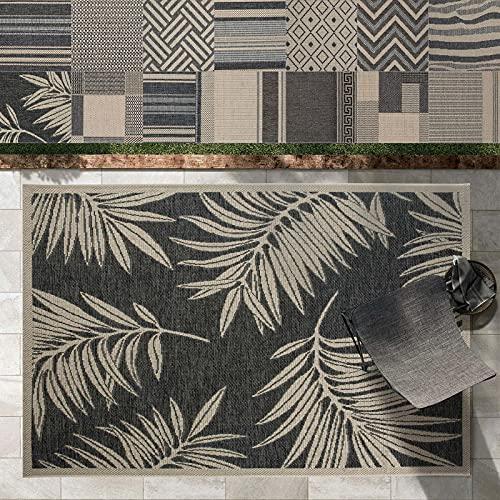 Outdoor Teppich Clyde für Terrasse und Balkon | wetterfester Sommerteppich für Garten | robustes Flachgewebe für außen und innen | modernes Design | Modell Palm Beach mit Palmen Muster 160x230 cm