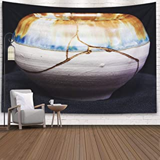 Gaussy Big Tapestry, Household Tapestry,Living Room Handmade Pot Made That was Broken Japanese Dormitory Wall Bedroom with Decorative Tapestry 80X60 Inch Large Size Wall Covering,Blue Gray