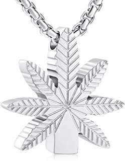 Marijuana Leaves Stainless Steel Cremation Jewelry Urn Necklace For Ashes + box+Chain+Fill Kits