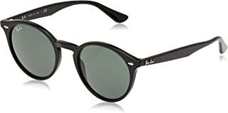 Ray-Ban RB2180 Round Sunglasses, Black/Green, 51 mm