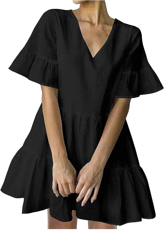ESULOMP Women's Cute Mini Dress Summer V-Neck Solid Short Sleeve Dress Casual Loose Flowy Swing Dresses