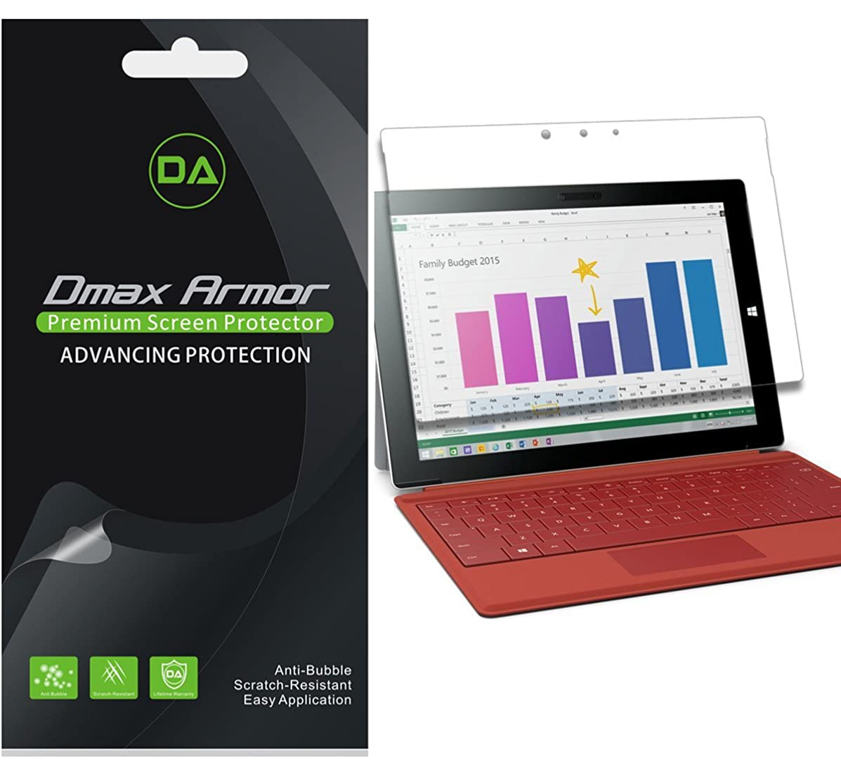 Dmax Armor [3-Pack] for Microsoft Surface 3 Screen Protector Anti-Bubble High Definition Clear Shield - Lifetime Replacement