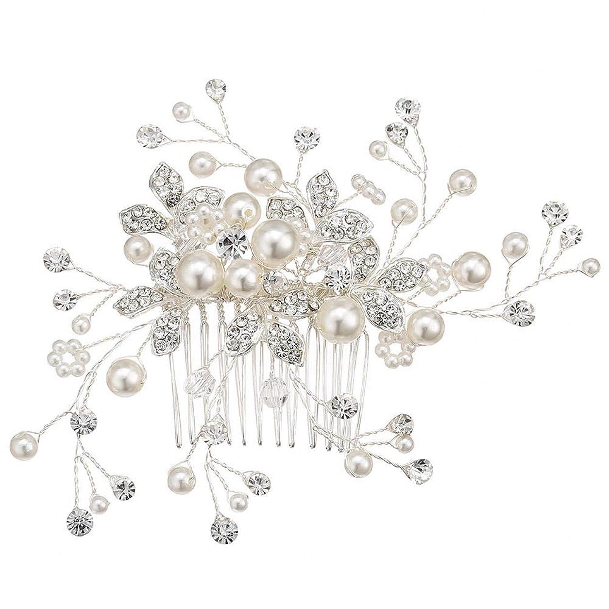 記録特徴詳細な真珠の髪の櫛手作りのラインストーン人気のウェディングアクセサリーブライダルティアラ@銀