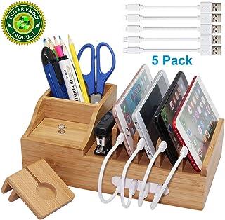 Pezin & Hulin Bamboo Charging Station, Multiple Devices Organizer for Phones,Tablet, Office Desktop Wooden Docking Station...