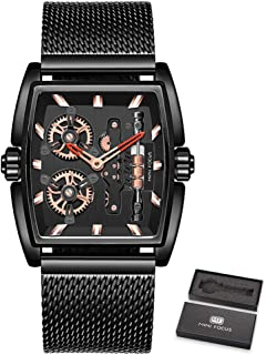 MINI FOCUS Men Watch Quartz Movement with Mesh Steel Strap Time Display Rotating Wheels Steampunk Style 3ATM Waterproof Ma...