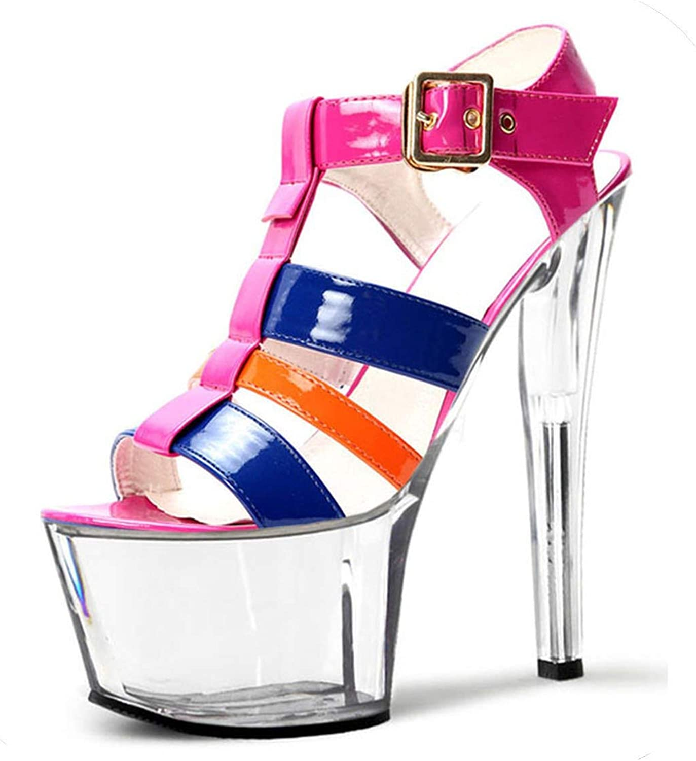 Beauty-inside color Stage Size and Sandals,15 cm, Heel high shoes, Transparent Waterproof Platform