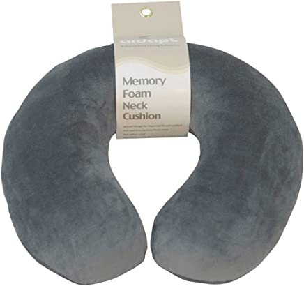 Aidapt Grey Super Soft Velour Luxury Firm Memory Foam Neck Support Cushion (Travelling,TV,Reading) (Eligible for VAT relief in the UK)