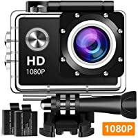 Tsvshe 1080p Waterproof Action Camera with 140 Wide-Angle Lens 12MP 2 Rechargeable Batteries and Mounting Accessories Kit