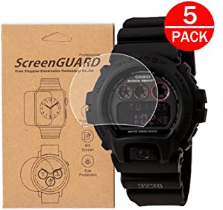 [5-Pack]For Casio DW-6900/DW6900-1V Watch Screen Protector, Full Coverage Screen Protector for Casio DW6900 GLS-6900 Watch HD Clear Anti-Bubble and Anti-Scratch