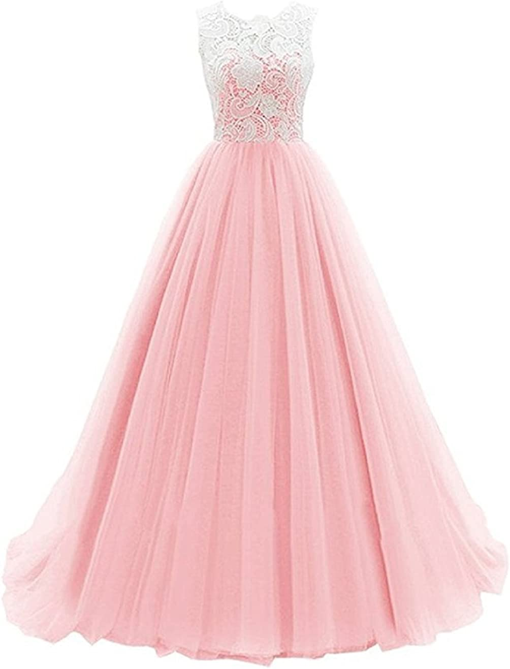 Mocoshop Little Big Girls' Tulle Lace Flower Graduation Wedding Dress Prom Gowns