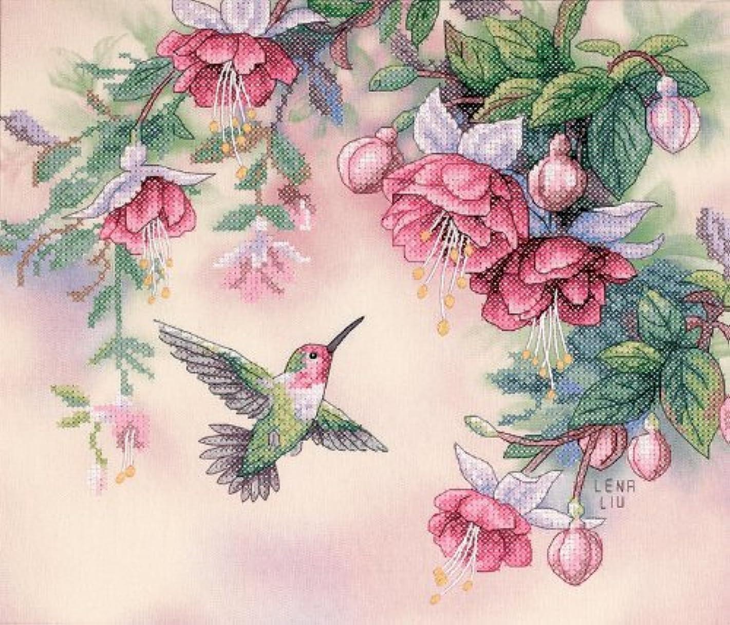 Dimensions Hummingbird and Fuchsias Stamped Cross Stitch Kit, 14'' x 12''
