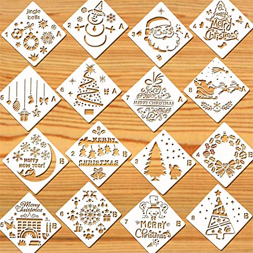 LBSYT 16Pcs Weihnachtsschablonen Wiederverwendbare Zeichnung Malvorlagen für Grußkarten Alben Sammelalbum Notizbuch Journal Wandkunst Home Decor Malutensilien