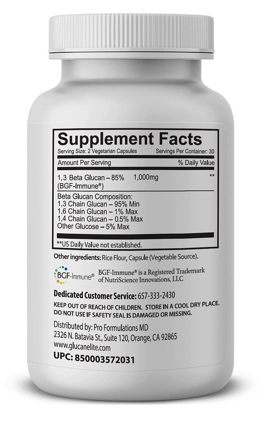Glucan Elite – 85% Beta 1,3D Glucan 500mg - 60 vcaps - Ultra-Potency Beta Glucan – Highest Bioavailability with BGF-Immune - Superior Immune System Support