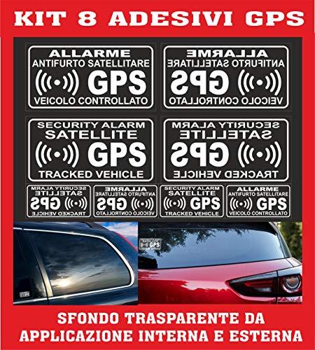 KIT 8 ADESIVI ANTIFURTO SATELLITARE GPS AUTO MOTO SCOOTER ALLARME COD200 CONTRO I FURTI CAMION TRASPARENTI