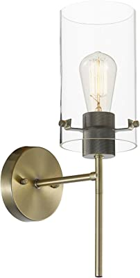 Globe Electric Cusco 1-Light Wall Sconce, Antique Brass, Clear Glass Shade 65958
