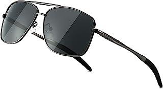 SUNGAIT Men's Polarized Square Aviator Sunglasses Durable Metal Frame for Fishing Driving Golf 100% UV Protection