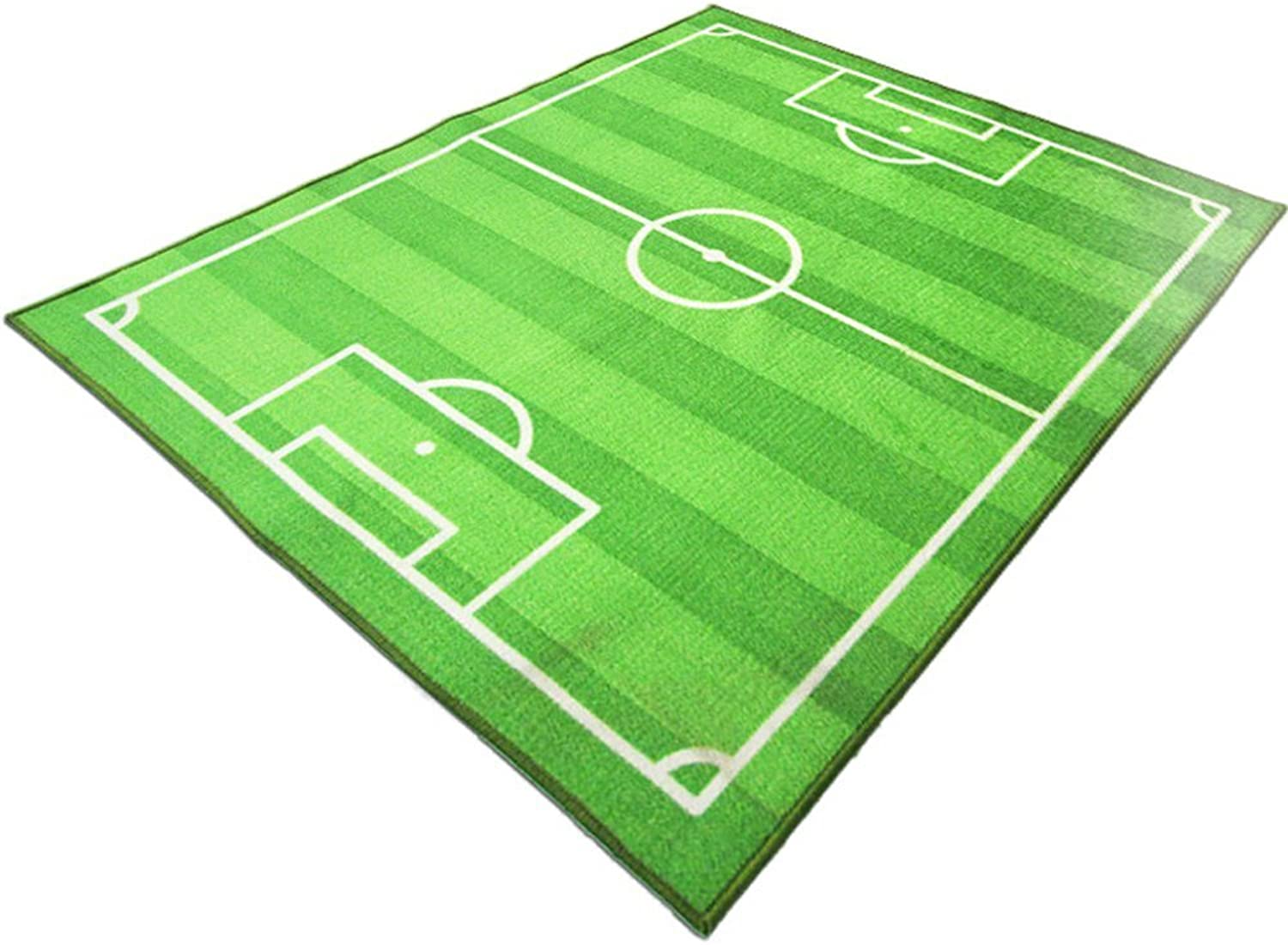 HUAHOO FUNS Soccer Field Ground Area Rug Sports Rug Playroom Carpet Kids Area Play Rug Green Football Pitch Rug (100x130cm(39''x51''))