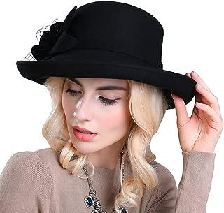 Maitose Women's Wide Brim Wool Felt Bowler Hat
