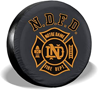 J122 Notre Dame Fire Department Spare Wheel Tire Cover Waterproof Dust-Proof Wheel Covers for All Cars (14,15,16,17 Inch)