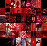 50pcs Red Neon Aesthetic Pictures Wall Stickers Flowers for Wall Collage Kits Photos Collection Girl Bedroom Decor