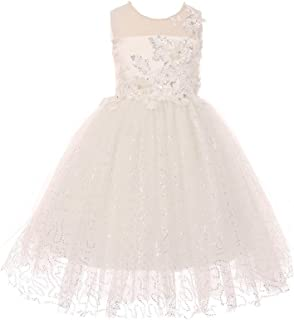 fa61691d879 Cinderella Couture Little Girls Ivory Pearl 3D Metallic Floral Appliques Flower  Girl Dress 2-6