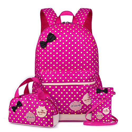 VBG VBIGER School Bags School Backpack Polka Dot 3pcs Waterproof Book Bag with Lunch Bags Purse Girls