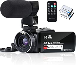 Video Camera Camcorder WiFi IR Night Vision FHD 1080P 30FPS YouTube Vlogging Camera Recorder 26MP 3.0'' Touch Screen 16X D...