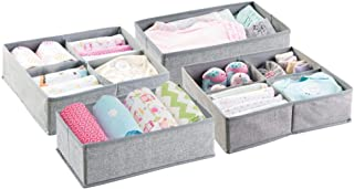 mDesign Fabric Baby Nursery Closet Organiser for Clothes, Towels, Socks, Shoes - Set of 4, Large, 10 Sections, Grey