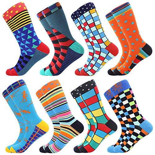 BONANGEL Herren Lustige Bunte Socken,Herren witzige Strümpfe, Fun Gemusterte Muster Socken, Verrückte Socken Modische Mehrfarbig Klassisch als Geschenk, Neuheit Sneaker Crew Socken (8 Paar-Lizard)