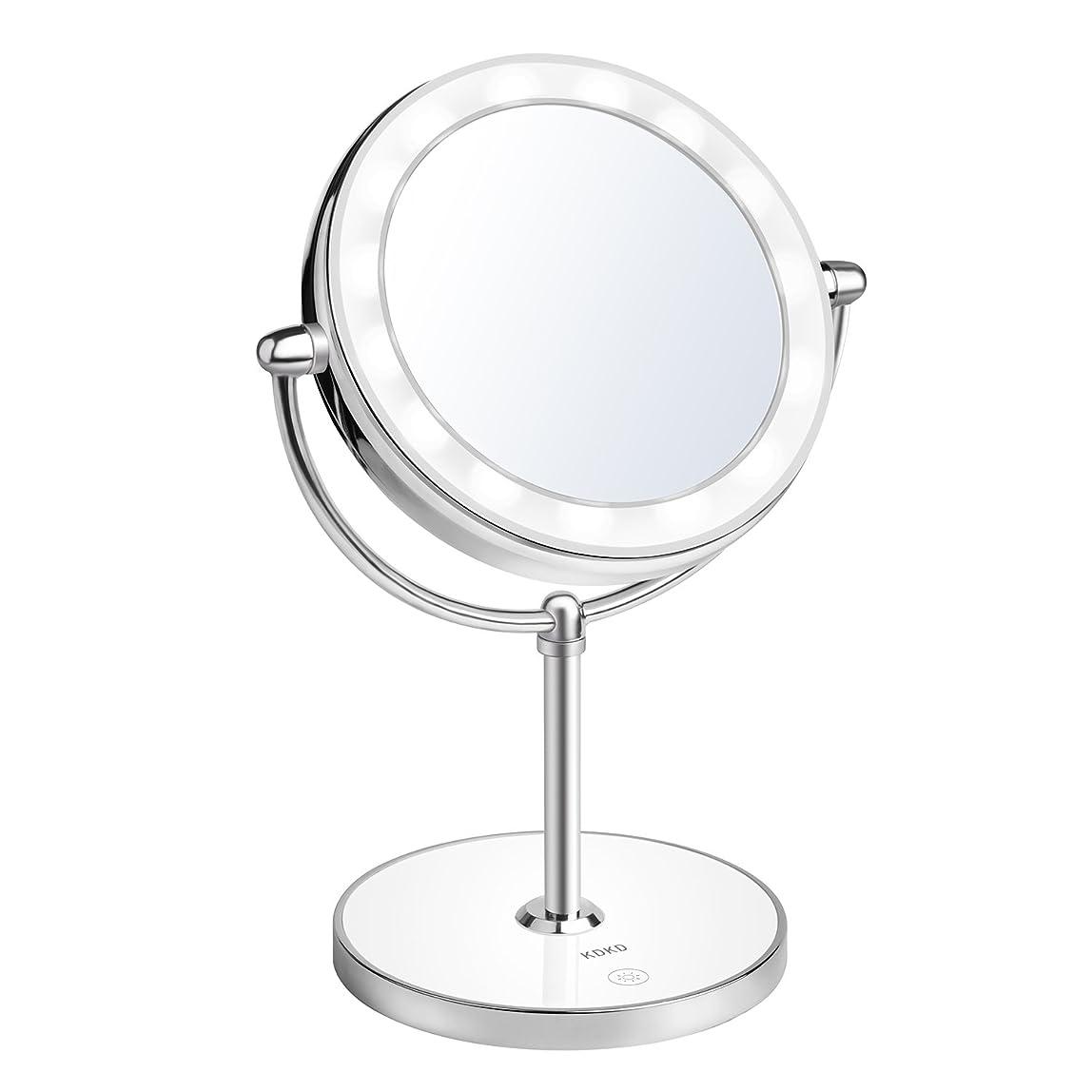 風重なる導入するKDKD LED光る ライト付き化粧鏡 回転式 1X 及び7倍率ミラー タッチ制御で調光可能 ライト付きメイクアップミラー コードレス 卓上鏡  スタンドミラー 充電式両面化粧鏡 銀色