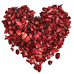 Hestya 100 Gramos de Pétalos de Rosa Secos Pétalos de Flor Real para Baño Pies Boda Confeti Accesorios de Manualidades…