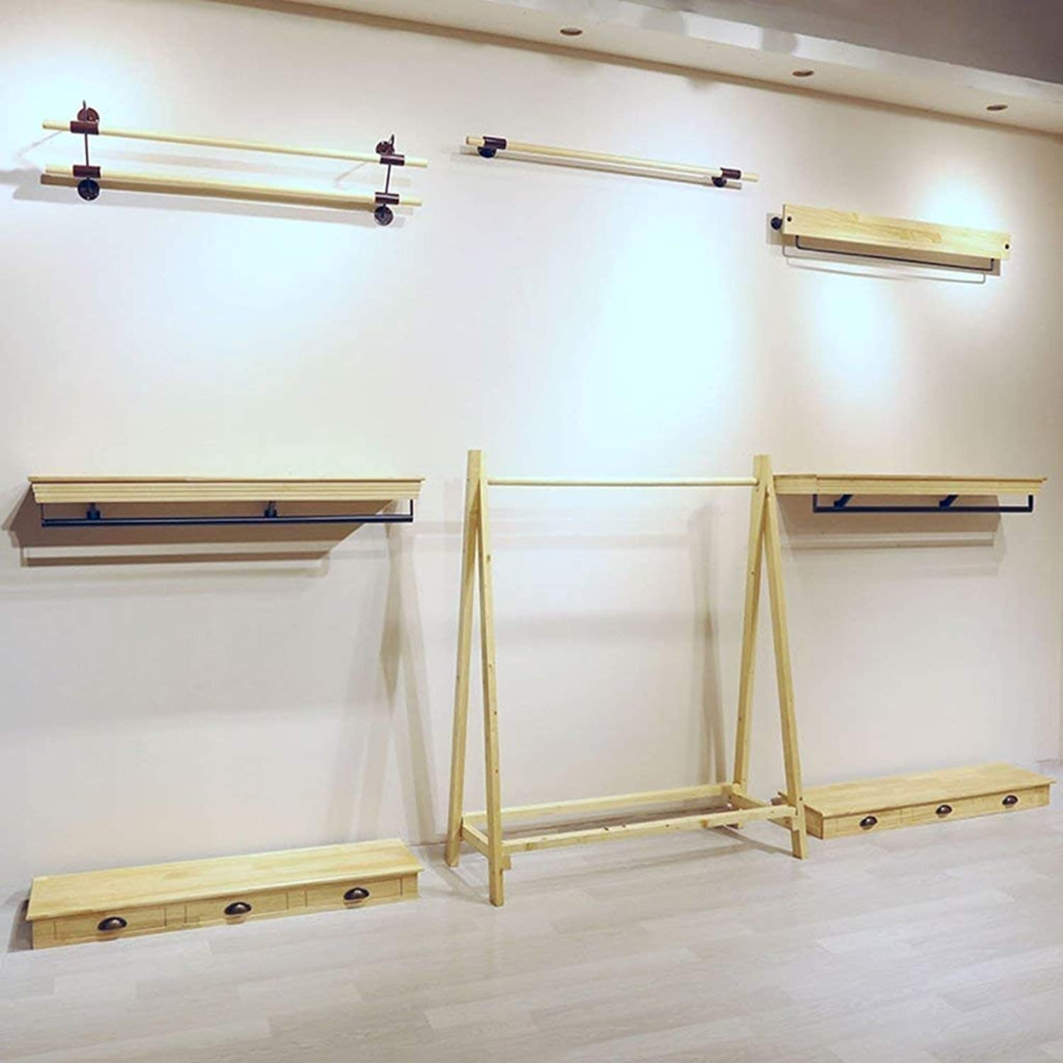 Shiyanghang Wooden Household Hangers, Wall Hangers,Wood color Iron Feet Single Pole Positive Hang Clothing Store Clothes Rack Display Stand Wall Pylons Wall Shelves Rack,Wall Door Back Coat Rack