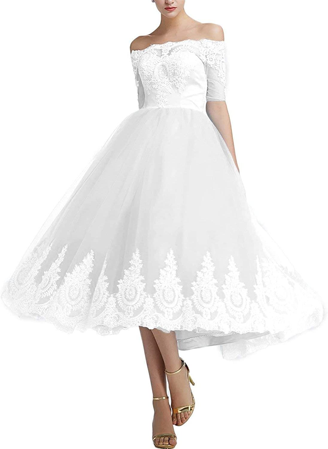 Jdress Women's Women's Off Shoulder Tea Length Cocktail Party Dress Lace Wedding Gown