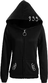Women Gothic Zip-up Witchcraft Hoodie | Punk O-Ring Long Sleeve Cardigan Sweatshirt Jacket Coat