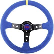 JZK New Universal Steering Wheel Grip 350mm 6 Bolts (2019 Purple) Velour Leather Suede and Brushed Stainless Spokes