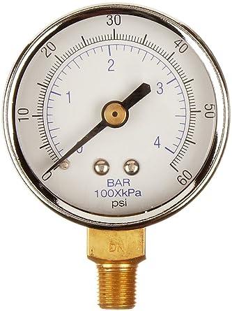 "1//4/"" NPT 2/"" Face Low Pressure Gauge 0-15 Psi Brass Socket"