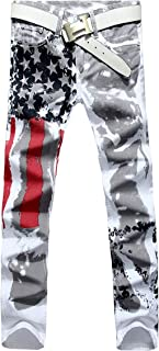 Men's Printed Washed Denim Long Straight Skinny-Fit Zipper Pants Jeans