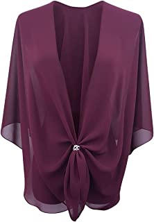 eXcaped Womens Evening Shawl Wrap Sheer Chiffon Cape and Silver Scarf Ring Set