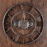 American Retro Bronce Antiguo engranaje antiguo reloj de pared de la decoración casera de la sala dormitorio Bar Restaurante mudo creativo for no marcando la decoración digital Romano 45 * 45cm durade