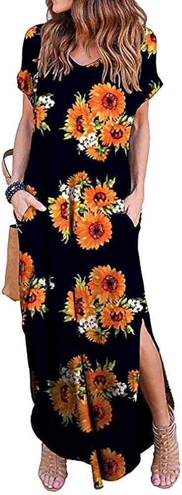 Women's Summer Maxi Dress Casual Loose Pockets Long Dress Split Plus Size