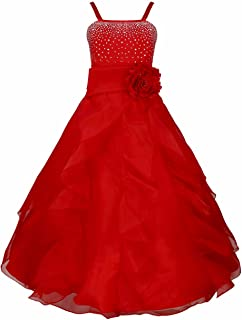 Ladys Girl Rhinestone Organza Flower Dress Pageant Holiday Prom Gown