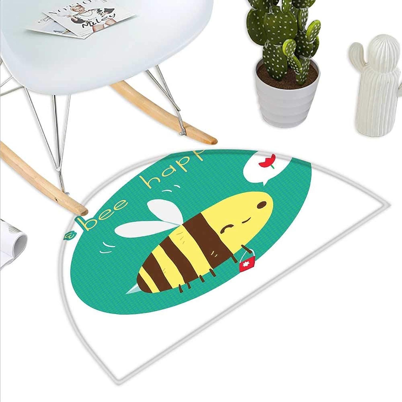 Queen Bee Semicircle Doormat Winking Bumblebee Cartoon Doodle with Bee Happy Quote Circle Abstract Background Halfmoon doormats H 43.3  xD 64.9  Multicolor