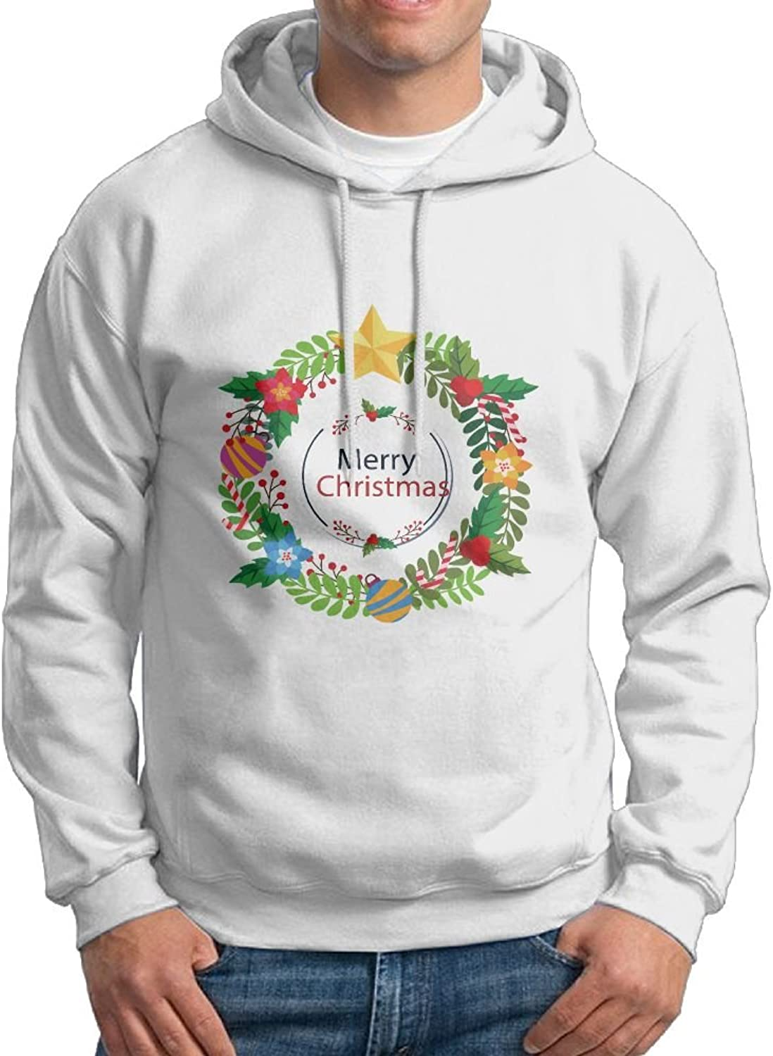 Fashion Men's Athletic Merry Christmas Wreath Print Soft & Cozy Drawstring Sweatshirt Without Pocket Casual Hoodie White