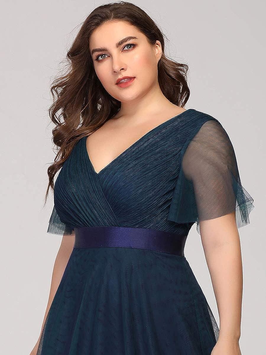 Ever-Pretty Robe de Soir/ée Bal Demoiselle dhonneur Grand Taille A-Line Taille Empire Tulle Col en V Femme 07962PL