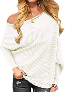 Womens One Shoulder Sweater Boat Neck Long Sleeve Loose Fitting Sweater