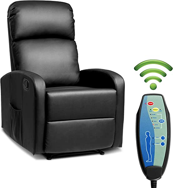 Giantex Massage Recliner Chair W Remote Control 5 Vibration Modes Adjustable Footrest Design PU Leather Padded Seat Modern Ergonomic Lounge Chaise For Living Room Office Black
