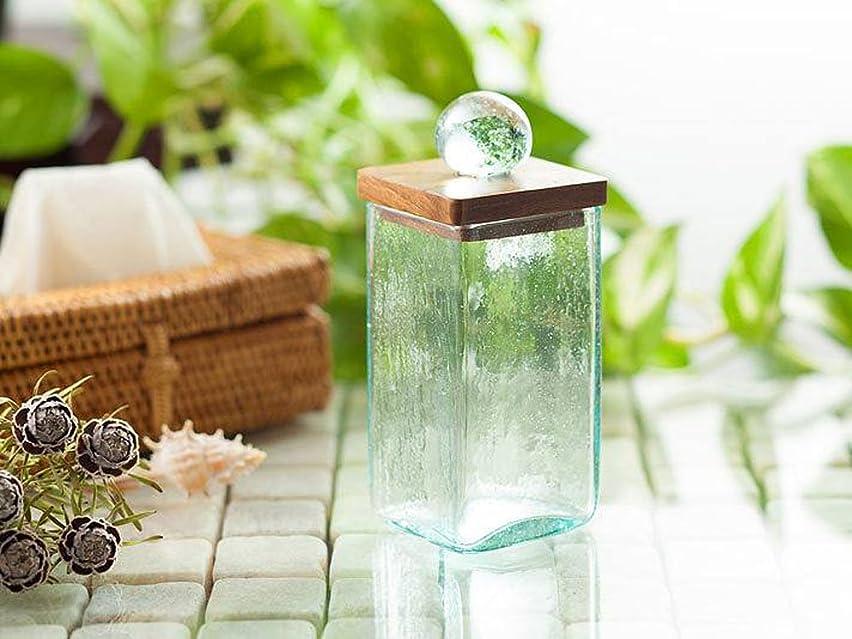 コットン スティックケース 海の色のようなグリーンガラスと木目の美しいチーク材  5×5×12cm