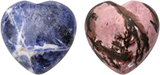 PESOENTH 2pc Heart Worry Stones Anxiety,Rhodochrosite Sodalite Palm Stones Pocket Quartz Crystal Healing Chakra Stress Gemstones for Jewllery Making,Reiki Meditation Therapy Smooth