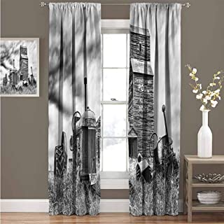EDZEL Rod Pocket Big Curtain, Blackout Curtain, Industrial Decor, Old 60S Abandoned Tractor in The Farm in Central Canada Nostalgic Machinery Elements Image, 96